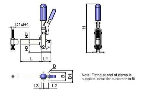 Locking Toggle Clamp - Vertical Solid Arm (WDS 4076)
