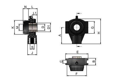 Bearing Housing M16 with Stainless Steel Bearing and Through Hole Cover (WDS 444)