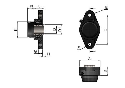 2-hole Bearing Housing with Steel Bearing and Blind Cover (WDS 444)