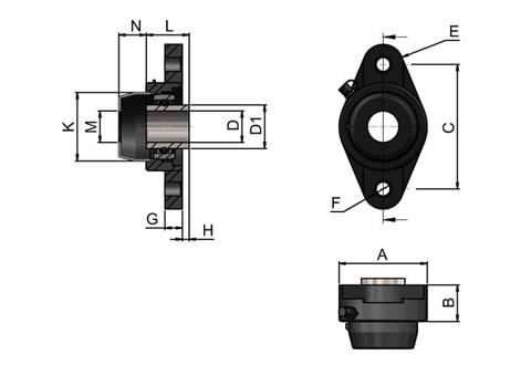 2-hole Bearing Housing with Steel Bearing and Through Hole Cover (WDS 444)