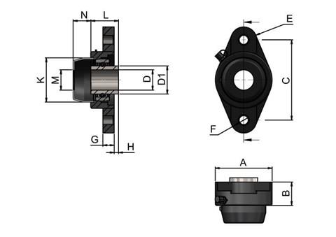 2-hole Bearing Housing with Stainless Steel Bearing and Through Hole Cover (WDS 444)