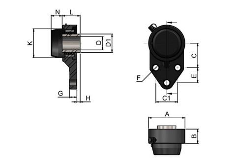 3-hole Bearing Housing with Steel Bearing and Blind Cover (WDS 444)