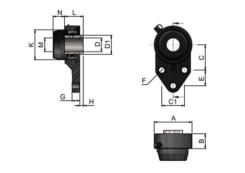 3-hole Bearing Housing with Stainless Steel Bearing and Through Hole Cover (WDS 444)