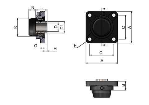 4-hole Bearing Housing with Steel Bearing and Blind Cover (WDS 444)