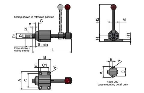 In-Line Clamp with Base Flange - Lever operating (WDS 4503)