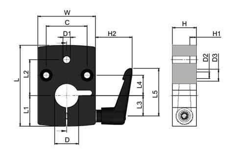 Mounting Block for Digital Position Indicators (WDS 496)