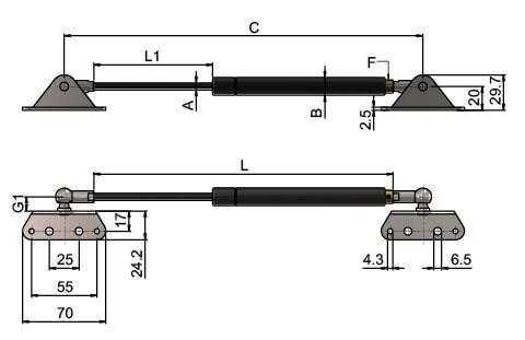 Gas Struts (Gas Springs) with External Brackets (WDS 550)