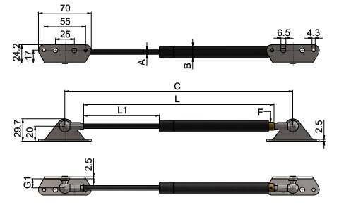 Gas Struts (Gas Springs) with Internal Brackets (WDS 550)