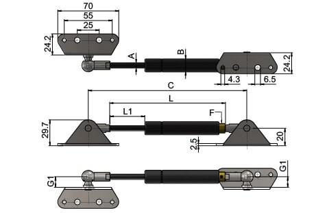 Gas Struts (Gas Springs) with External & Internal Brackets (WDS 550)