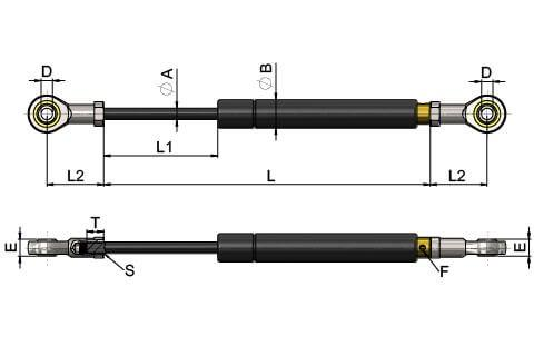 Gas Struts (Gas Springs) with Swivel Eye Rose Joints (WDS 550)