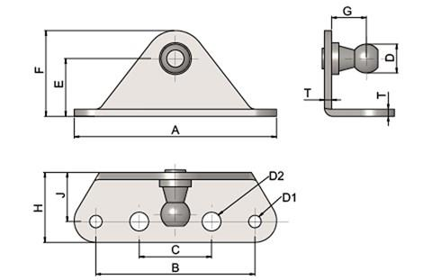 Gas Strut Mounting Brackets - Folded with Internal Ball Stud (use with DIN71802 & DIN71805) (WDS 551)