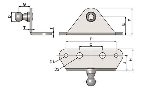 Gas Strut Mounting Bracket - Folded with External Ball Stud (use with DIN71802 & DIN71805) (WDS 551)