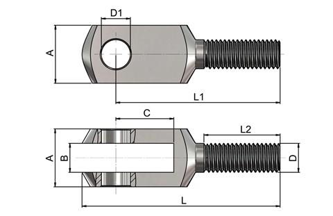 Male Threaded Clevis Joints - DIN 71752 (WDS 551)