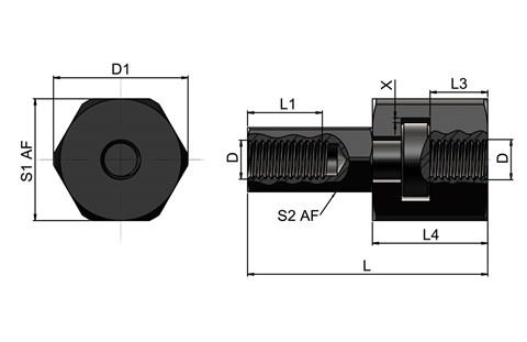 Quick Fit Linear Coupling - Radial Offset Female Threaded Bolt Female Receiver (WDS 557)