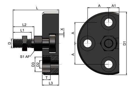 Quick Fit Linear Coupling - Radial Offset Male Threaded Bolt Plate Receiver (WDS 557)