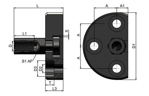 Quick Fit Linear Coupling - Radial Offset Female Threaded Bolt Plate Receiver (WDS 557)