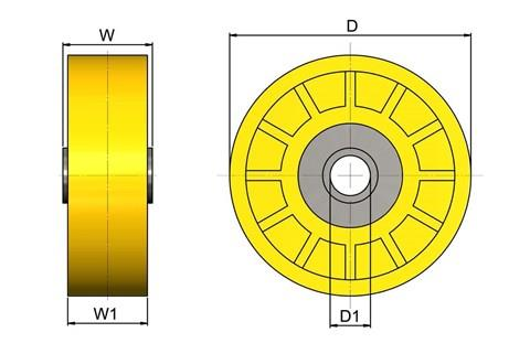 Plastic Skate Wheels for Gravity Roller Conveyors - ABS Yellow (WDS 565)
