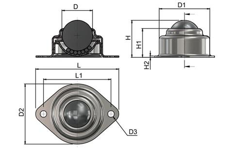 Ball Transfer Unit - Surface Mounting 2 Hole Fitting - Steel (Ball Rollers) (WDS 566)