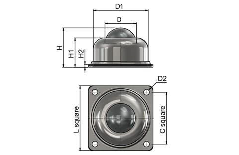 Ball Transfer Unit - Surface Mounting 4 Hole Fitting (Ball Rollers) (WDS 566)