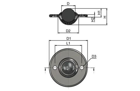 Ball Transfer Unit - Surface Mounting 2 Hole Fitting - Dish Surface Mounting Steel (WDS 567)