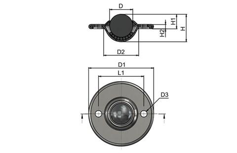 Ball Transfer Unit - Surface Mounting 2 Hole Fitting - Dish Surface Mounting Stainless Steel (WDS 567)