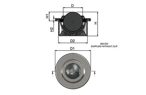 Ball Transfer Unit - Light Duty - Stainless Steel (WDS 569)