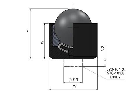 Ball Transfer Unit High Capacity - Push Fit Series - Stainless Steel Balls (WDS 570)