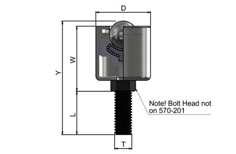 Ball Transfer Unit High Capacity - Hex Threaded Stud Series - Steel Balls - Imperial UNF (WDS 570)