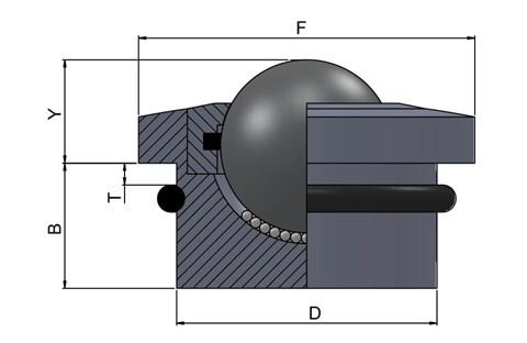 Ball Transfer Unit - Medium Duty with Rubber O-Ring - Stainless Steel (WDS 570)