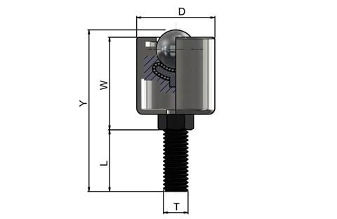 Ball Transfer Unit High Capacity - Hex Threaded Stud Series - Steel Balls - Metric (WDS 570)
