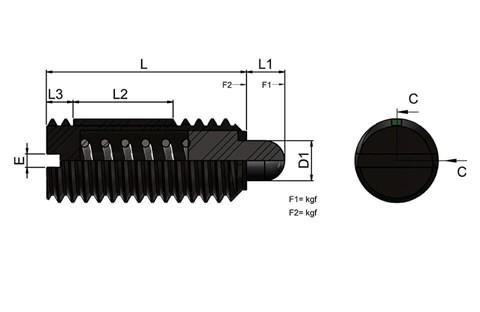 Light Force Spring Plungers with Slotted Thrust Pin and Long-Lok (WDS 606)