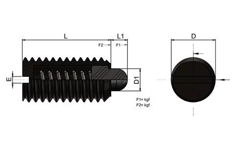 Light Force Spring Plunger With Slotted Thrust Pin (WDS 606)
