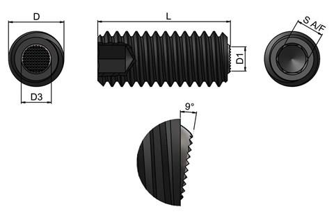 Clamping Screw Pad - Serrated Restricted Swivel Ball (WDS 652)