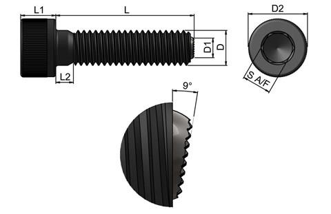 Headed Clamping Screw Pad - Serrated Restricted Swivel Ball (WDS 652)