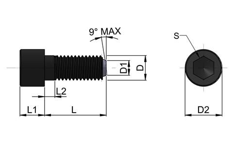 Headed Clamping Screw Pad - Plain Restricted Swivel Ball (WDS 652)