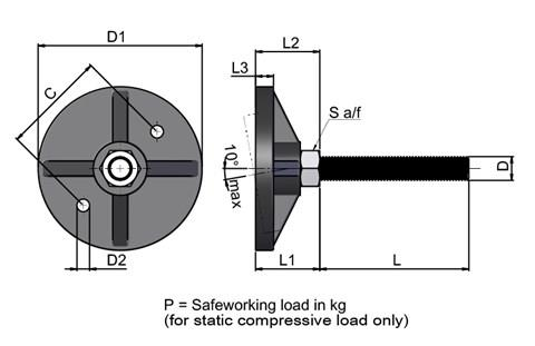 Levelling Foot - Heavy Duty - Bolt Down Base - Steel Zinc Plated (WDS 673)
