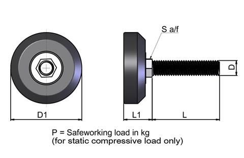 Levelling Foot Conical Non-Tilt  - Steel Zinc Plated (WDS 673)
