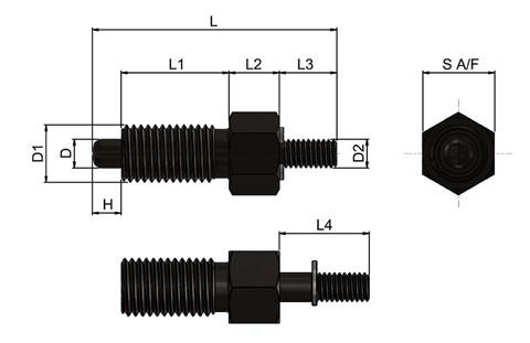 Steel Index Plunger with Threaded Spindle - Non Parking (WDS 678)
