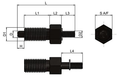 Steel Index Plunger with Threaded Spindle - Parking Type (WDS 678)