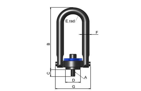 Hoist Ring with Long Bar - Swivel and Pivot Action (WDS 695)