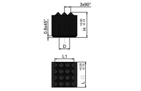 Metric Square Carbide Tipped Gripper - Fine Tooth Pattern (WDS 698)