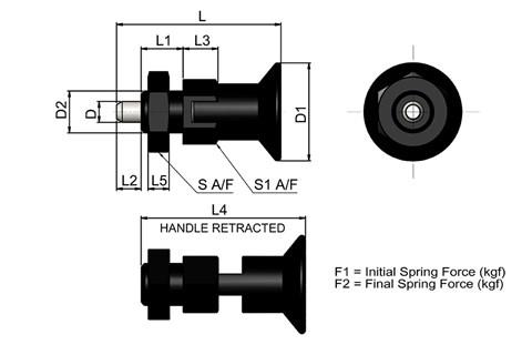 Compact Spring Loaded Index Bolt - Parking Type (WDS 722)
