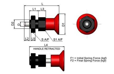 Compact Spring Loaded Index Bolt - Red Knob Standard Type (WDS 722)