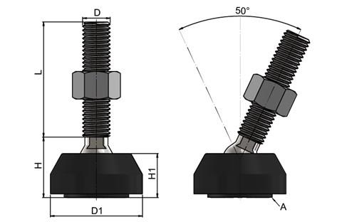 Levelling Feet - 316 Stainless Steel 40mm Plastic Base-Black (WDS 778)