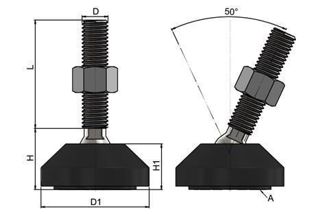 Levelling Feet - 316 Stainless Steel 50mm Plastic Base-Black (WDS 778)