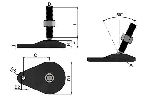 Levelling Feet - 316 Stainless Steel - Extended Bolt Down Base (Black) (WDS 778)