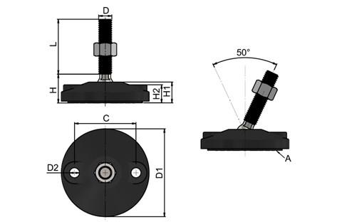 Levelling Feet - 316 Stainless Steel 80mm Plastic Base Double Bolt Down Base (Black) (WDS 778)