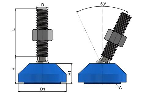 Levelling Feet - 316 Stainless Steel 50mm Plastic Base-Blue (WDS 778)