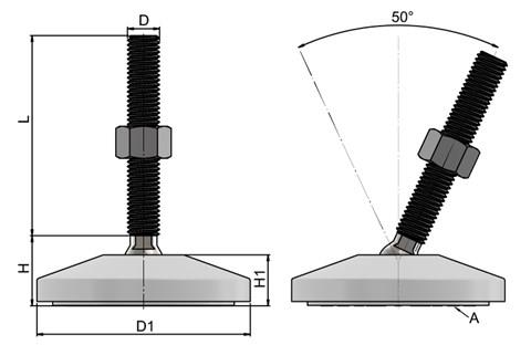 Levelling Feet - 316 Stainless Steel 80mm Plastic Base-White (WDS 778)