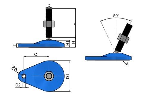 Levelling Feet - 316 Stainless Steel - Extended Bolt Down Base (Blue) (WDS 778)